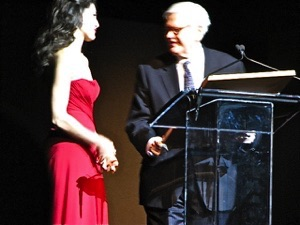 Jennifer receives her award at Jazz Lincoln Center